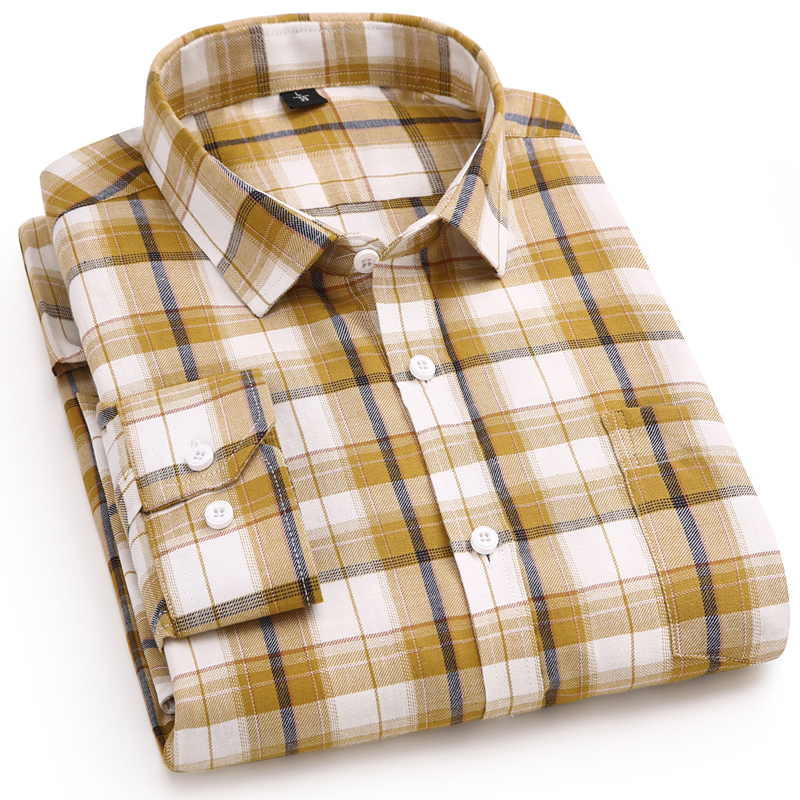 Men's Casual Brushed Cotton Plaid Checkered Shirts Single Patch Pocket Long Sleeve Standard-fit Thick Gingham Button Up Shirt