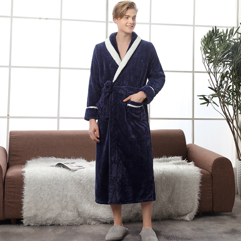 Image 2 - Couple Pajamas 2019 Winter Bathrobe Fashion Long Thick Flannel Couple Bathrobe Loose Plus Size Pajamas Home Clothes Sleepwear