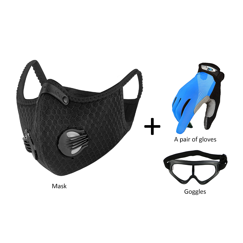 NEW Windproof Bike Motorcycle Glasses + Mask With Filter + Gloves Bicycle Cycling Goggle Glasses Working Goggles Eye