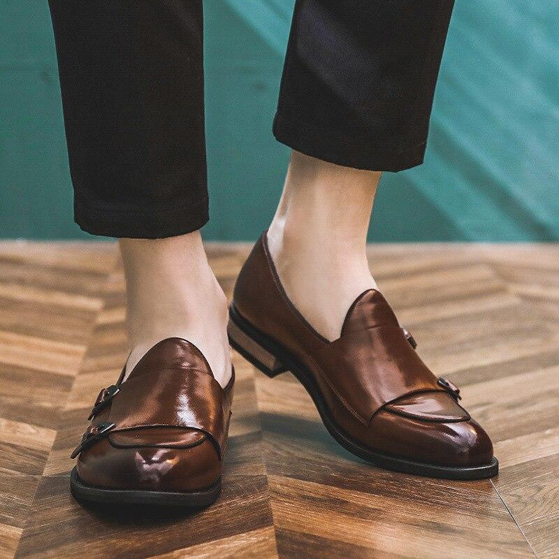 Printemps hommes en cuir chaussures décontracté respirant coréen moraillon formel affaires chaussures pour hommes rétro sans lacet hommes mocassins Zapatos Hombre