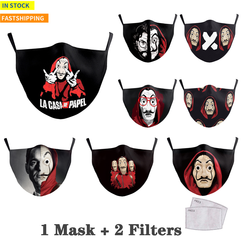 Dinheiro heist impressão boca máscara facial la casa de papel máscara respirável pm2.5 tecido anti à prova de poeira à prova de vento capa de boca