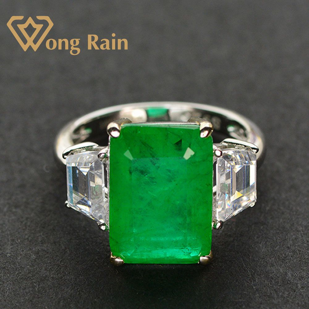 Wong Rain 100% 925 Sterling Silver Created Moissanite Emerald Gemstone Birthstone Wedding Engagement Ring Fine Jewelry Wholesale