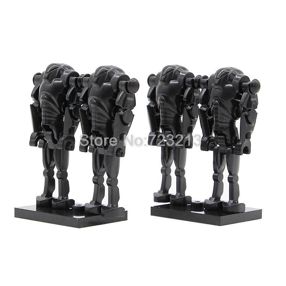 4pcs/lot Black Super Battle Droid Figure Star Wars Model Set Building Blocks Kits Brick Toys For Children Legoing Starwars