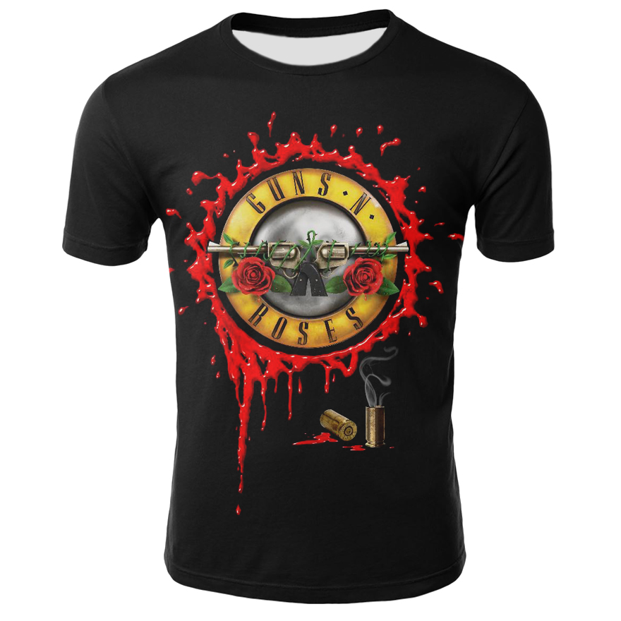 Roses And Guns T Shirt For Men/Women Summer Casual O-neck Short Sleeve Cool Streetwear 3D Printed Tshirt Male