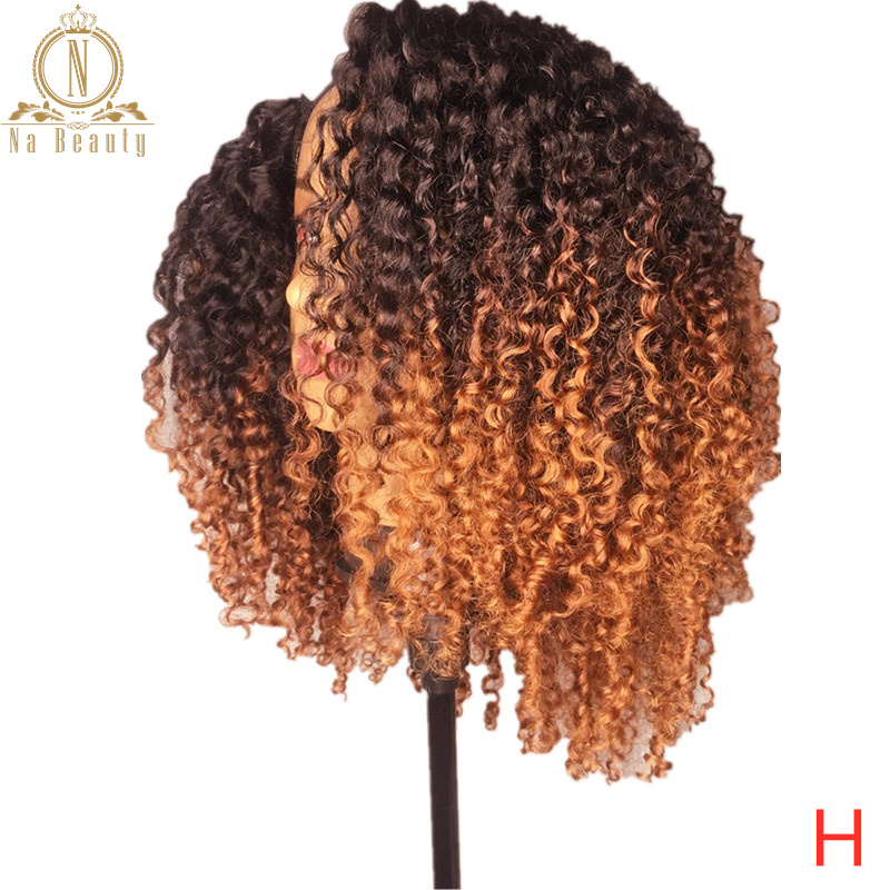 Afro Kinky Curly Ombre Colored Human Hair Wigs For Women Short Bob 13x6 Lace Front Wig Black Pre Plucked Remy Hair Nabeauty 150