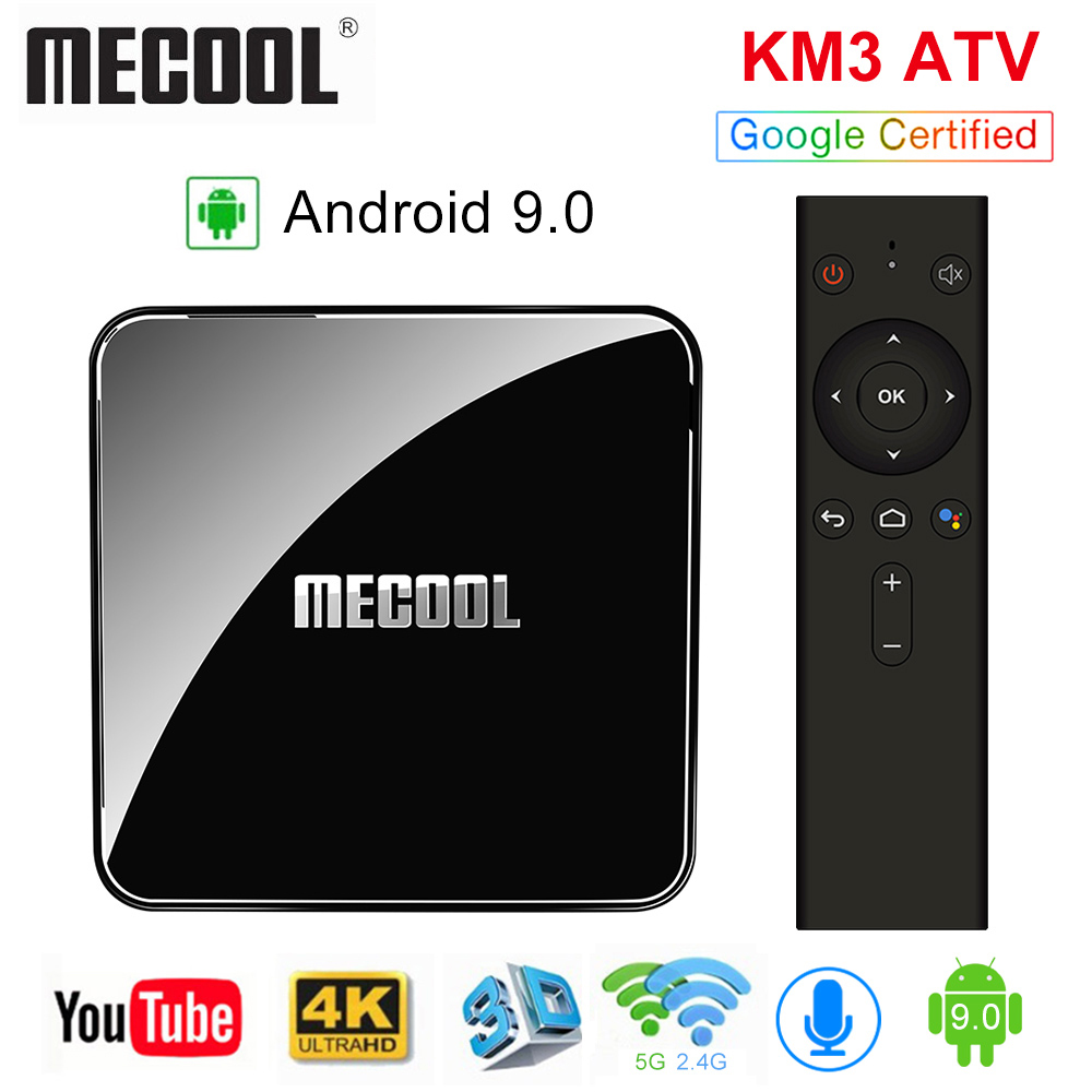 MECOOL KM3 ATV Androidtv Google Certified TV Box Android 9.0 4GB 64GB Amlogic S905X2 4K Dual Wifi Set Top Box KM9 Pro 2/16 4/32G