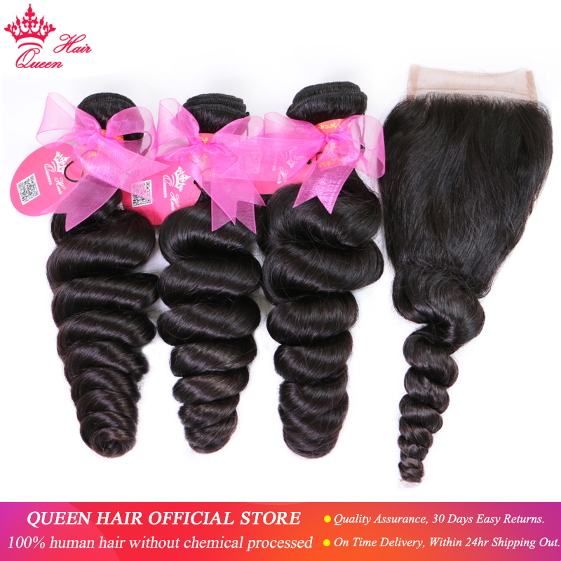 Queen Hair Products Brazilian Loose Wave Bundles With Closure 100% Human Hair 3 Bundles With Lace Closure Fast Free Shipping