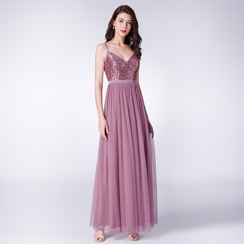 Evening Dresses Sheath Ankle-length V-neck Sleeveless Backless Sequined Wedding Guest Party Gowns Cheap Long Prom Dress