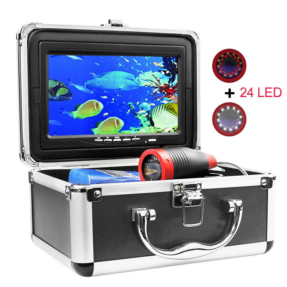 Erchang DV3524E 15m 1000TVL 7 Inches Monitor 12pcs Led Infrared Light Underwater Fishing Camera For Ice Fishing