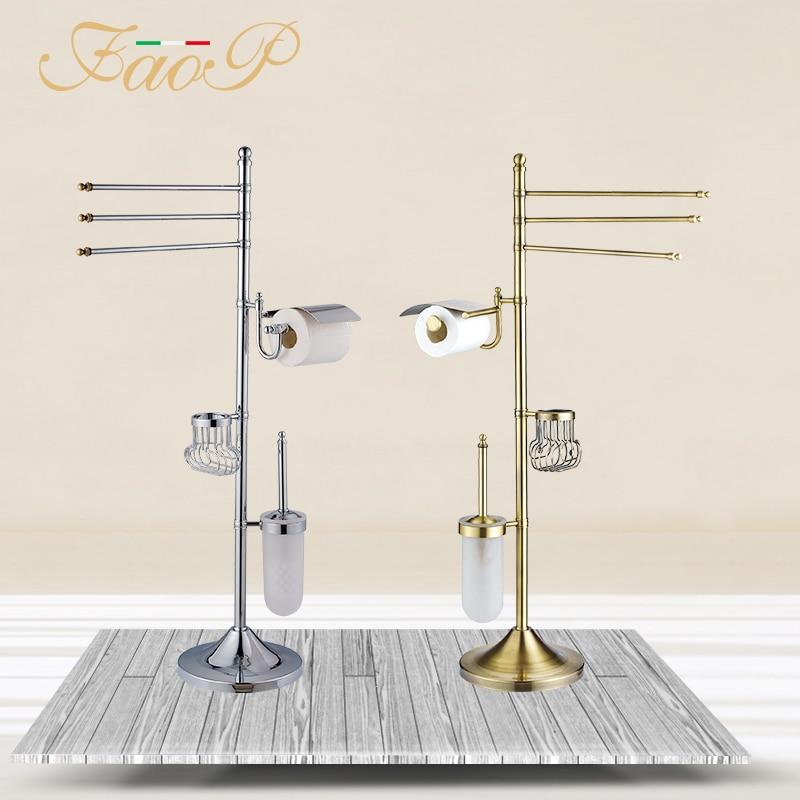 FAOP Titulares Escova de Vaso Sanitário do banheiro de Ouro de bronze Antigo Gancho De Papel em Rolo de Papel Titulares Conjuntos de Hardware de Banho toalha de Banho para trás