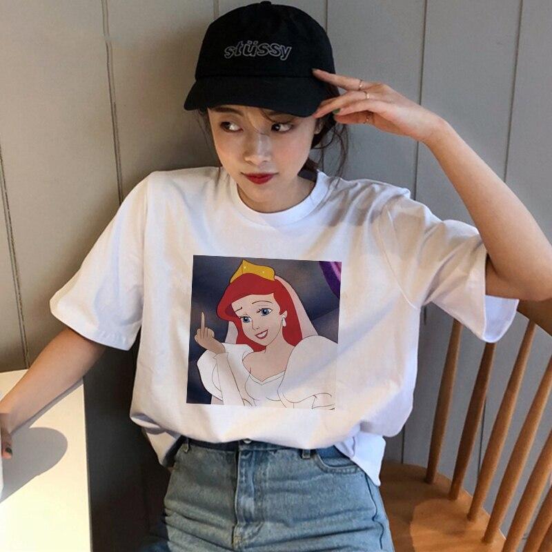 Summer Spoof Fun New Snow White Princess Print Short Sleeve O-neck Cartoon Casual Tops Female Tees Harajuku Fun T-Shirt