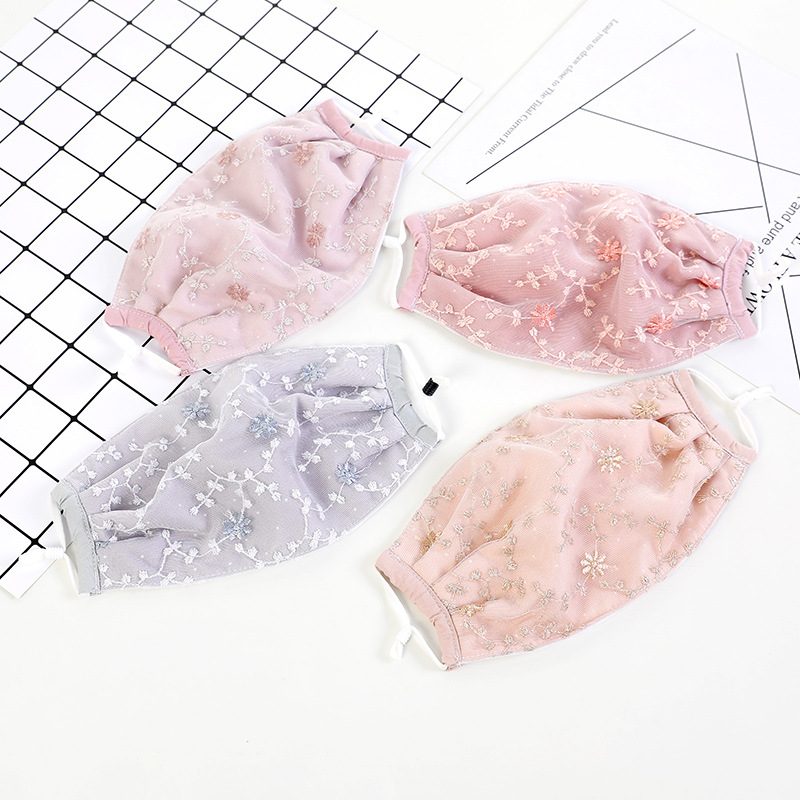 Autumn & Winter Fashion Women's Lace Embroidery Face Mask Double Layer Thick Dustproof Cycling Travel Warm Students Face Mask