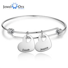 Bangles Bracelets Jewelora Engraved Name Stainless-Steel Personalized Heart for Girlfriend