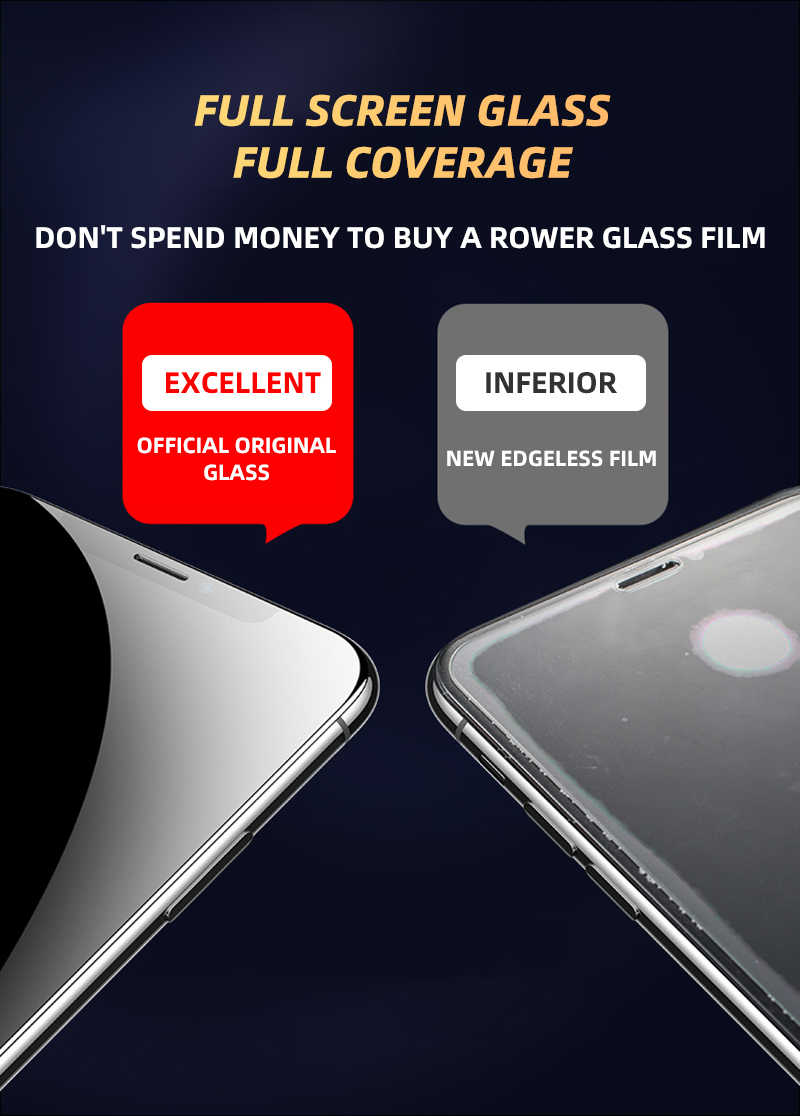 2 PCS 550D Full Cover Tempered Glass For iPhone 11 Pro Glass X XS Max XR Screen Protector Glass On For iPhone 6 6s 7 8 Plus Film