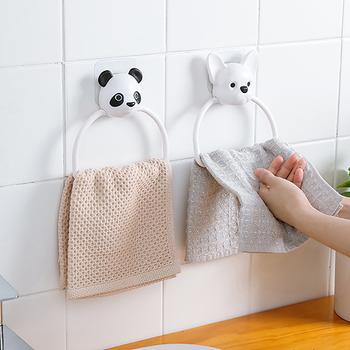 Pierścień wieszak do ręczników klej wysokiej jakości ręcznik wiszący Cute Cartoon naklejka ze zwierzętami drzwi ścienne wieszak do ręczników do kuchni łazienka tanie i dobre opinie CN (pochodzenie) Z tworzywa sztucznego NONE Ring Towel piece