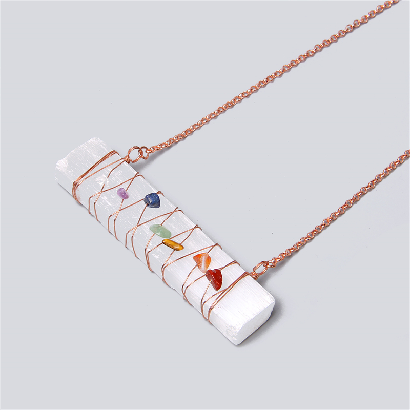 Irregular reiki mineral specimens healing crystal rod plaster stone Necklace Natural 7 Chakra white selenite gypsum rod Necklace