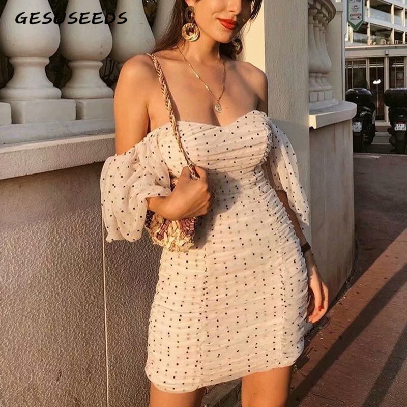 Vintage strapless mesh <font><b>dress</b></font> <font><b>sexy</b></font> <font><b>dress</b></font> off shoulder <font><b>mini</b></font> <font><b>dress</b></font> <font><b>sexy</b></font> <font><b>club</b></font> <font><b>wear</b></font> summer <font><b>dress</b></font> ruched polka dot beach vestidos image