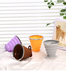 Image 5 - Tasse de voyage pliable télescopique en Silicone, 270ML, tasse à café rétractable en acier inoxydable