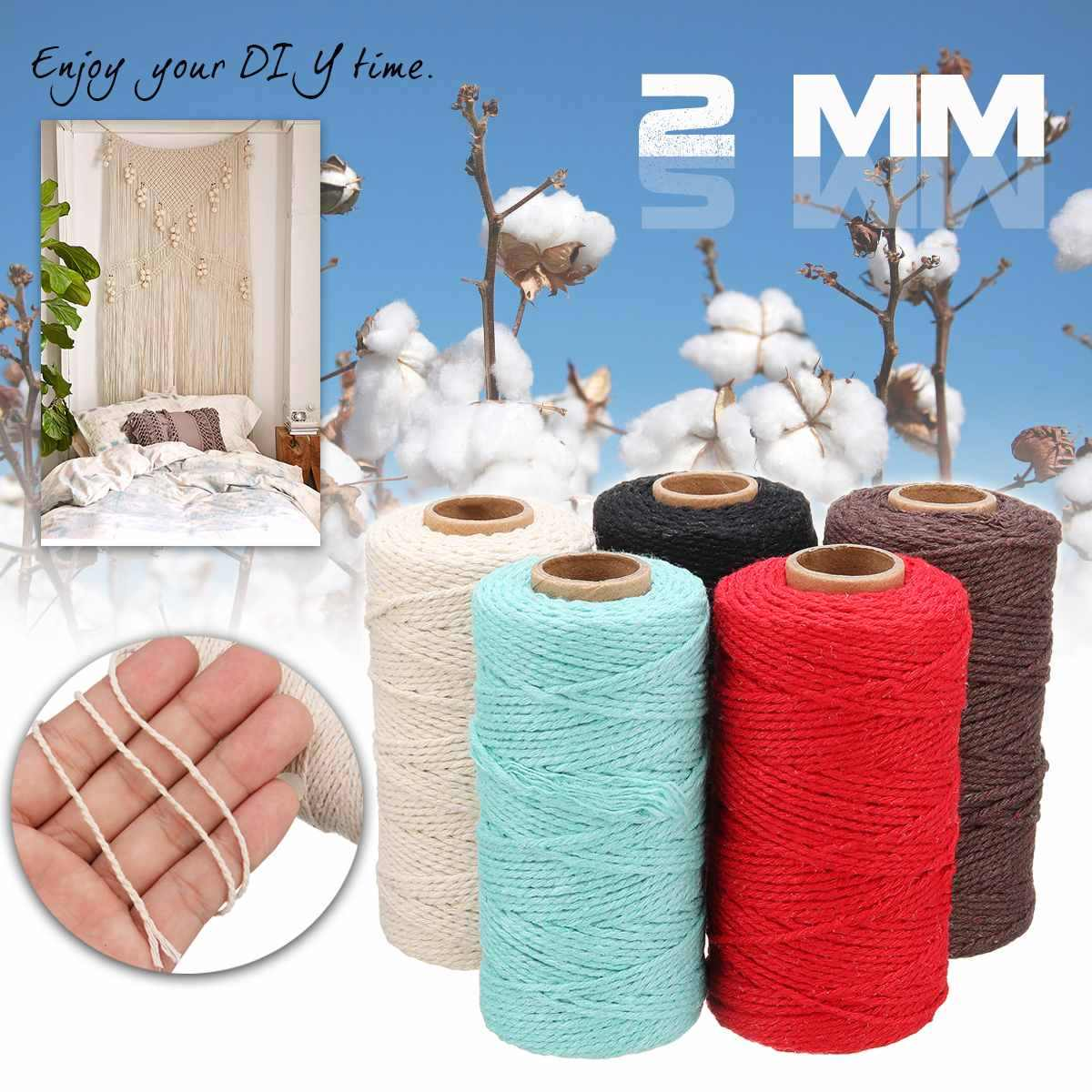 Pure Cotton Cords Sewing Thread String Twisted Macrame Cord 100m Long/100 Yards DIY Wedding Decor Supply Handmade Rope Craft