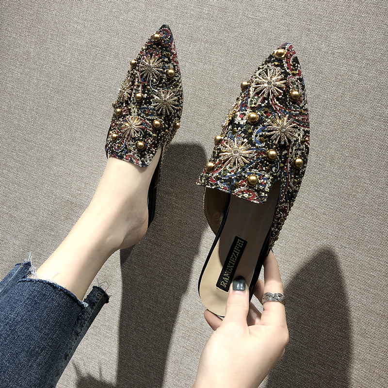 2019 Summer Shoes Woman Pointed Toe Shallow Mules Shoes Women Slingback Slip On Ladies Shoes Women Flats A00179