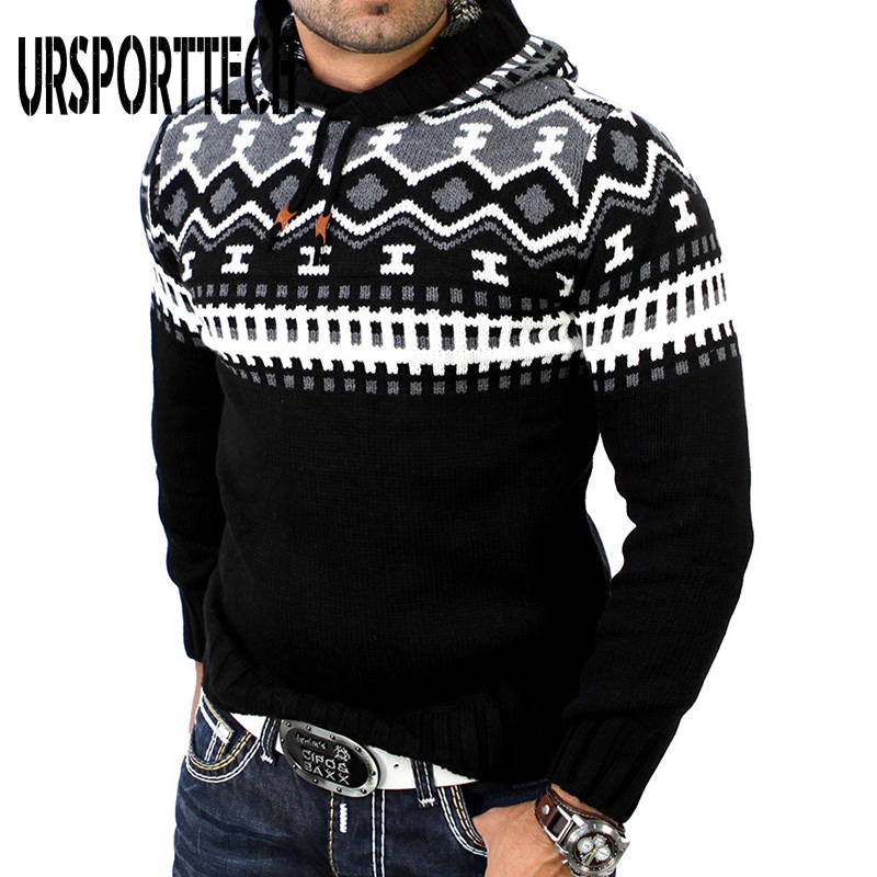 High Quality Christmas Sweater Men Pullovers 2020 New Fashion Casual Patchwork Sweater Male Hooded Slim Fit Knitted Sweaters XXL