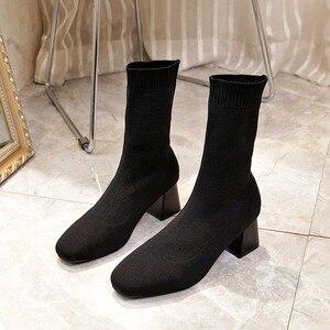 Image 2 - Vrouwen Laarzen Sok Breien Winter 2019 Mode Hoge Hak Schoenen Dames Sok Laarzen Vierkante Hakken Stretch Stof Vrouw Enkellaarsjes
