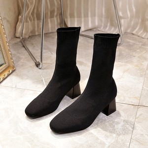 Image 2 - Women Boots Sock Knitting Winter 2019 Fashion High Heel Shoes Ladies Sock Boots Square Heels Stretch Fabric Woman Ankle Booties