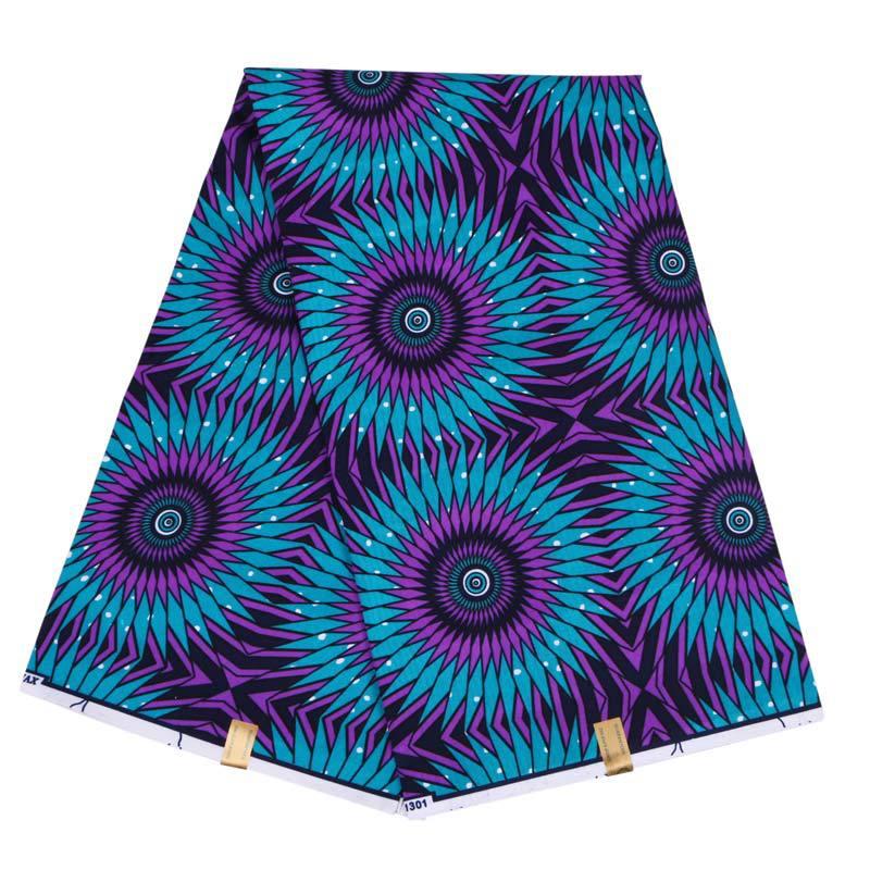 2019 New Wax Fabric Fashion Purple And Blue Print Fabric African Ankara Guaranteed Wax Printed Fabric