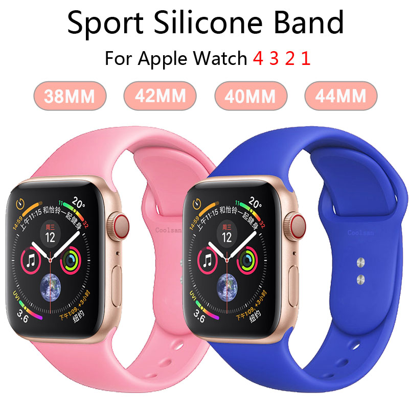 Silicone Strap For Apple Watch Band 4 3 44mm 40mm Iwatch Band Correa 42mm 38mm Wrist Bracelet For Apple Watch 4 3 2 Accessories