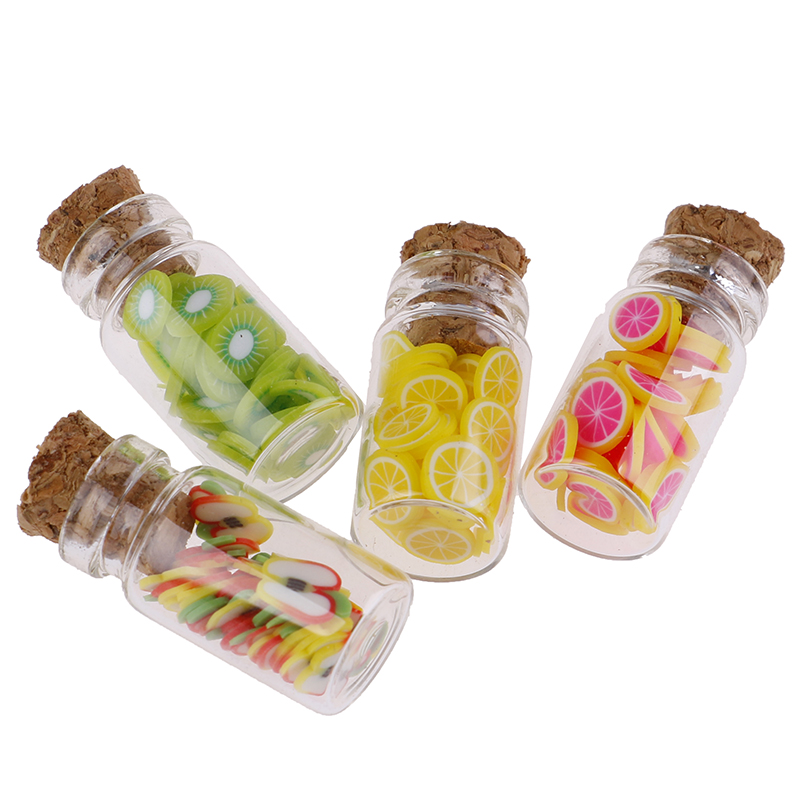 1:12 Dollhouse Miniature Mini Fruit Slices Glass Bottle Storage Jar Wooden Lid Toy Doll Accessories