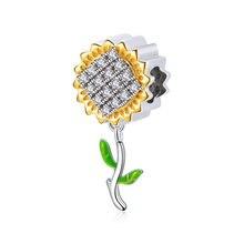 925 стерлингового серебра в виде подсолнуха с циркон, очаровательный, подрходит к оригиналу 3 мм браслет, браслет на запястье для женщин на де...