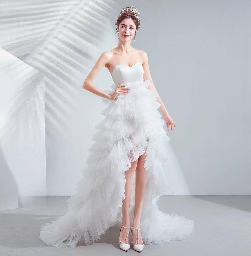 Special Offer~Lovely Sweetheart Front Short and Back Trailing Style Sweet Layered Cake Skirt Wedding Dress/Bride Wedding Gown847