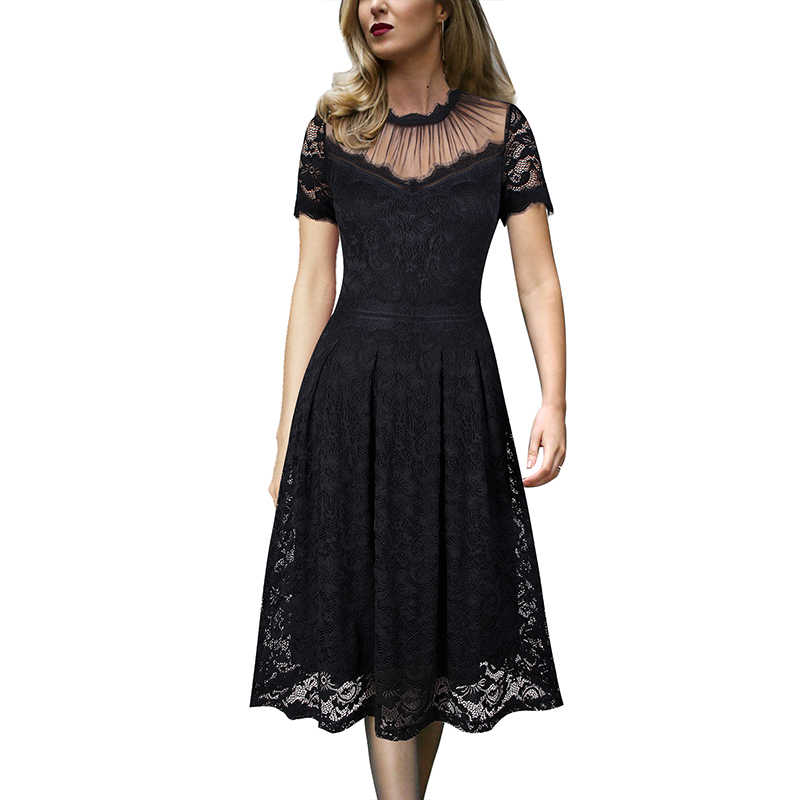 Vfemage Womens Vintage See Through Bloemen Wimper Lace Mesh Patchwork Cocktail Wedding Party Flare Skater A-lijn Midi Jurk 122