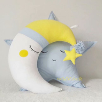 Moon Shaped Pillow Cloud Expression Toy Plush Filled Super Soft Sofa Chair Doll Pillow Cushion Baby Comfort Pillow Toy