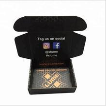 100 sztuk partia wysokiej jakości niestandardowe tektury falistej wysyłka Mailer czarne pudełka drukowane Logo opakowania włosów t-shirty odzież pudełka tanie tanio CN (pochodzenie) Tektura NONE Birthday party