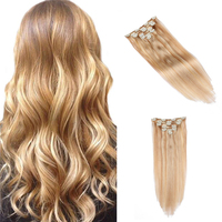 Honey Blonde 12/613# Colored 7 Piece Clip on Extension 22 Inch Silky Straight Clips in Human Hair Extensions Full Head