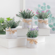 bonsai artificial flowers fake plant white/pink in pots high quality potted decor for home/bedrooom/garden