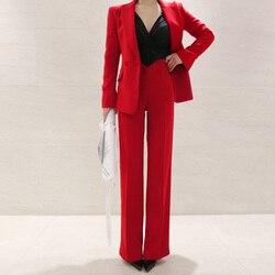 Business Uniform Women Pant Suits 2 Piece Set red slim Blazer Jacket Office lady business office work suit
