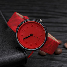 2019 Red Simple Watches Reloj Mujer Number Round Women