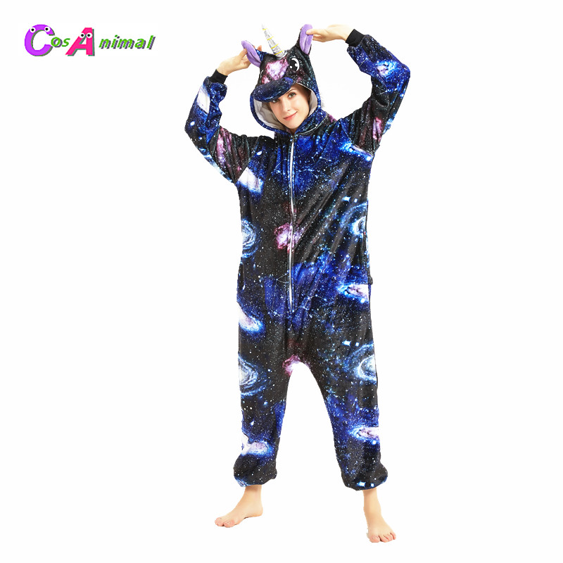 Starry Sky Unicorn Adult's Animal Kigurumi Women's Men's Cosplay Costume Onesies Pajamas For Halloween Carnival New Year Party