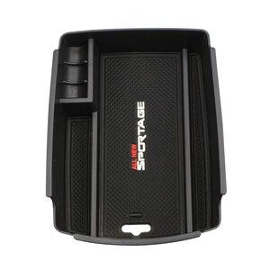 Image 3 - Caixa de armazenamento de braço central do carro recipiente titular bandeja para kia sportage kx5 ql em lhd 2016 2017 (para freio de mão eletrônico)