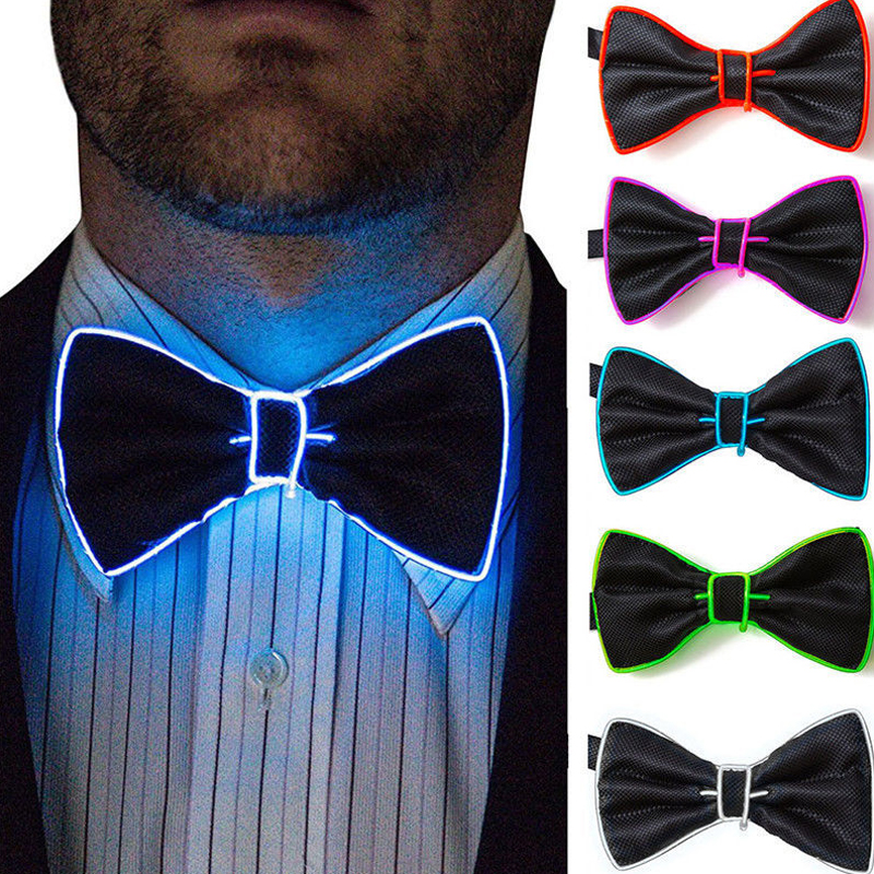 Polyester Silk Necktie Luminous Christmas Gift Accessories Bow Bow Tie Flashing LED Dance Jewelry Bowtie Evening Show Men Party