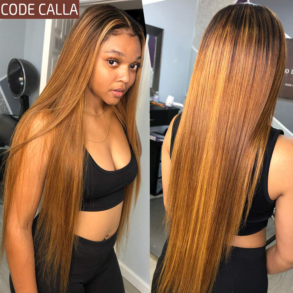 Ombre Straight Lace Front Human Hair Wigs For Women Peruvian 13*4 Lace Frontal Wig Pre-Plucked Hairline Glueless Wig CODE CALLA