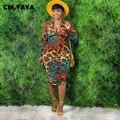 Женское облегающее платье средней длины CM.YAYA, элегантное платье с леопардовым принтом, застежкой-молнией, отложным воротником, длинным рука...