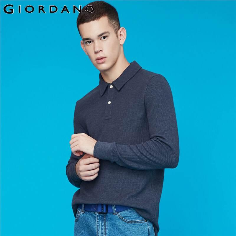 Giordano Men   Polo   Shirt Waffle Pattern Long-sleeve   Polo   Shirt Men Thick Solid   Polos   Para Hombre Split Hem Camisa   Polo   01019783