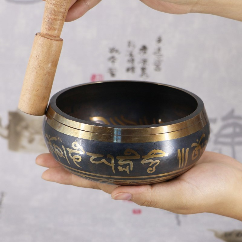 Tibetan Singing Bowl Buddhism Meditation Bell Hand Hammered Buddhist Brass Bowl Yoga Copper Chakra Healing Spiritual Gift Decor