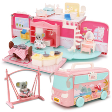 Doll House Bus Hand Bag Accessories Cute Furniture Miniature Dollhouse Birthday Gift Bus House Model Doll Toys For Children Gift
