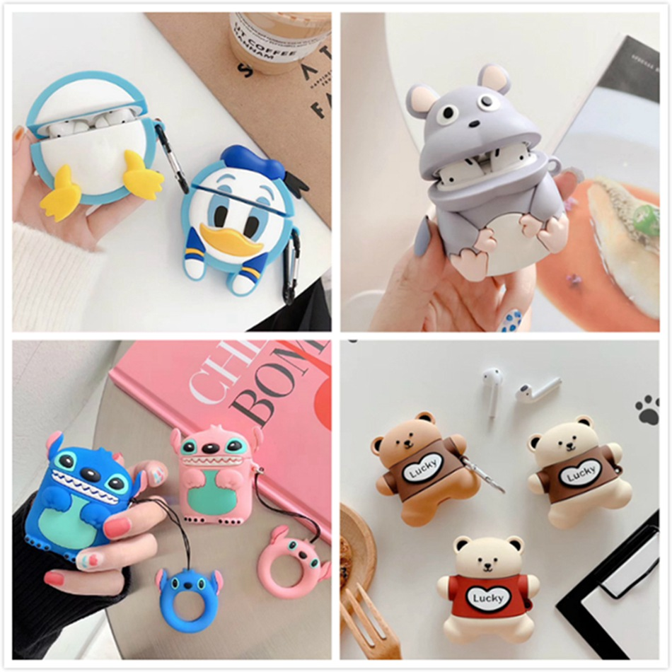 Earphone Case For Airpods Case Silicone Cute Cartoon Mouse Headphone Case For Apple Airpods 2 Case For Earpods Accessories Ring