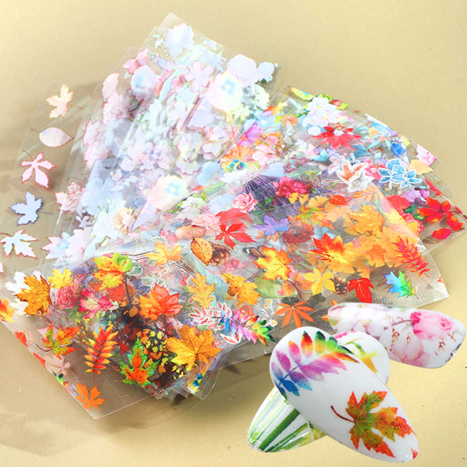 10pcs Herfst Maple Folies Nail Tranfer Stickers Set Blooming Kleurrijke Bloemen Nail Sliders Vlinder Manicure Decoratie BE19132