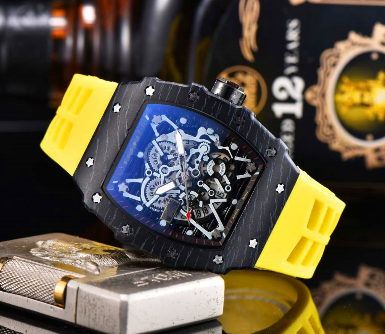 RM Richard Luxury Quartz Watches New Top Brand Mille Mens Automatic Watch Men's Designer Wristwacth Water Resistant Reloj Hombre